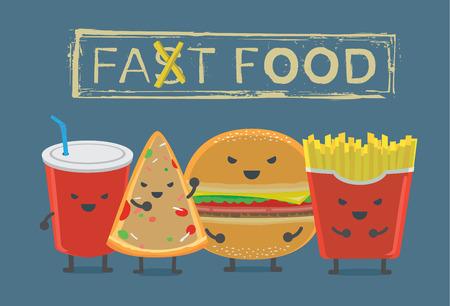 Alimentation et concept de boisson. Restauration rapide caractère de groupe dans ton sombre ont Hamburger français frit boisson gazeuse et de la pizza.