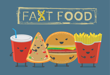 aerated: Food and drink concept. Fast food group character in dark tone have Hamburger French fried soft drink and pizza.