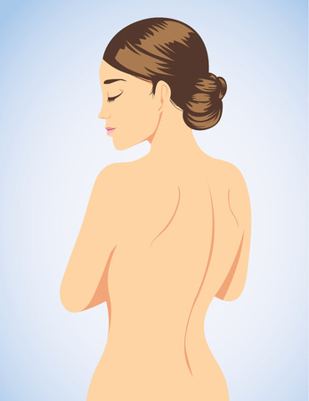 naked female: Beautiful woman cartoon back view with beauty skin on blue background