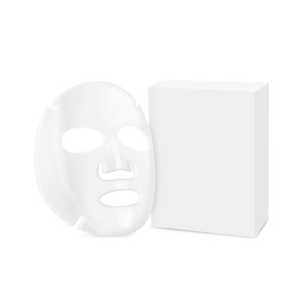 from side: Facial sheet mask in side view and box isolated