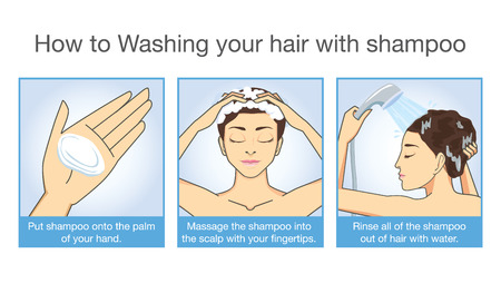 washing up: Step cleansing hair with shampoo and Conditioner of women Illustration