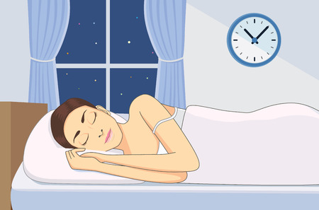 cartoon bed: Women sleeping at good time for health in bedroom