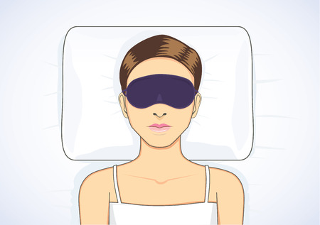 sleep well: Beautiful woman sleeping in bed with eye mask for protect eyes from light make Sleepless