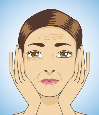 skin problem: Beauty woman strain because have aging face