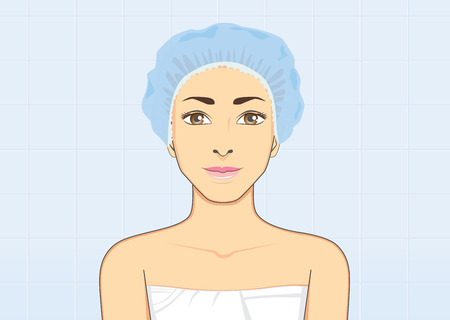 bathroom cartoon: Healthy woman Smiling wearing a shower cap in bathroom for protect wet hair with bath hygiene concept Illustration