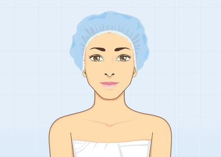 gorro: Mujer sana sonriente que usa un gorro de ducha en el cuarto de ba�o para el cabello h�medo de protecci�n con el concepto de la higiene del ba�o