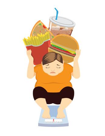 太った女性は、彼女のようなジャンク フード医療概念を食べるので上がって重量を持っています。  イラスト・ベクター素材