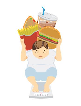 mujer gorda: Mujer Gorda haber subido de peso porque su gustaba comer concepto basura atención de la salud los alimentos Vectores