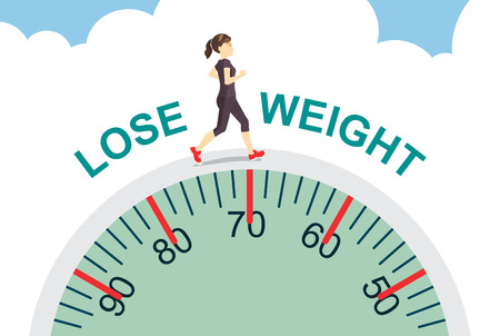 Healthy women lose weight with jogging on big scale health care concept