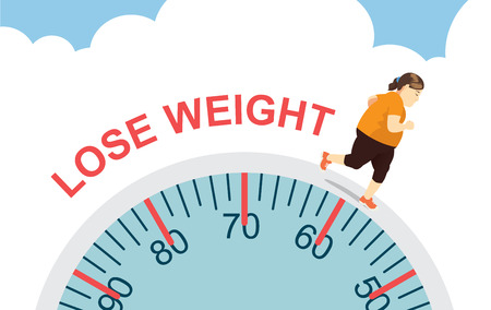 Fat women lose weight with jogging on big scale health care concept Çizim