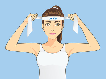 Beautiful women in sportswear is strive to exercise for fighting fat. Healthy concept cartoon Illustration