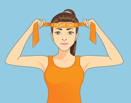 headbands: Mujeres hermosas en ropa deportiva se esfuerzan por ejercer para la lucha contra la grasa. Concepto de dibujos animados Saludable