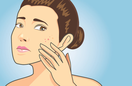 strain: Women strain to problem acne face on blue background have text space