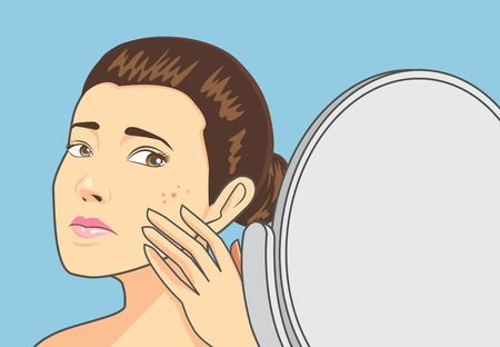 facial care: Women strain at back cosmetic mirror with problem acne face. Skin care concept