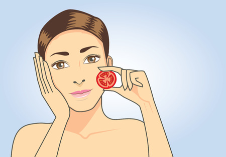 woman face cream: Beautiful woman put tomato in hand. beauty and healthy concept