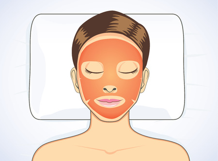 girl sleep: Facial tomato mask while sleeping for beauty face skin treatment of women