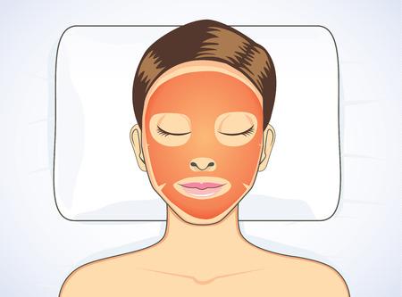 tomate: Masque de tomate visage pendant le sommeil pour le visage traitement des femmes de la peau de beauté Illustration