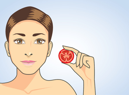 oxidant: Beautiful woman put tomato in hand. beauty and healthy concept