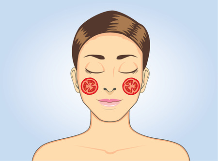 woman sleep: Facial tomato mask while sleeping for beauty face skin treatment of women