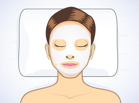 menina: Mulheres máscara facial durante o sono para tratamento de beleza da pele Ilustração