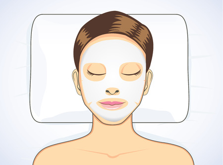 cartoon bed: Women facial mask while sleeping for beauty skin treatment