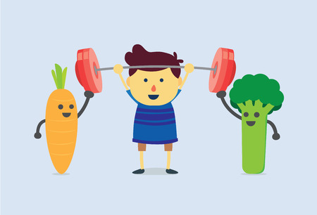solidity: Carrot and Broccoli help kid to weight lifting. healthy and kid concept