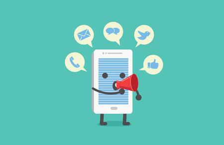alerta: Teléfono inteligente tiene muchas alerta con las burbujas del discurso del megáfono puede ser la distracción