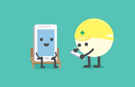 mantenimiento: Teléfono sentarse en una silla de comprobar con el técnico para el mantenimiento Vectores