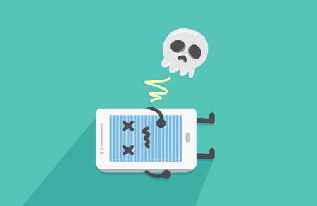 damaged: Mobile phone is dead because many case mean stop all working of mobile phone system Illustration