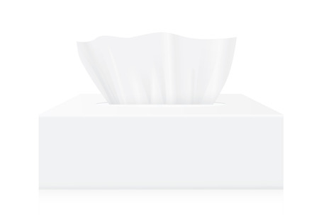 text box: Tissue box mock up White Tissue box blank label and no text for mock up packaging