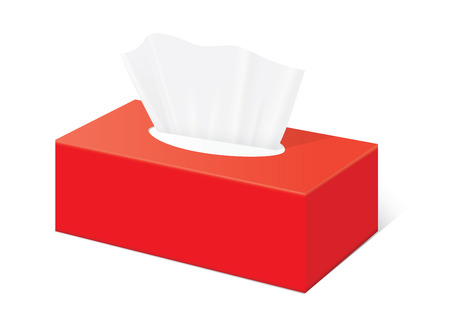 Red Tissue box blank label and no text for mock up packaging