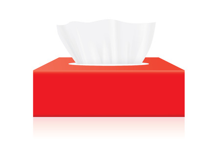 tissue paper: Red Tissue box blank label and no text for mock up packaging