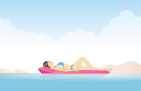 vector girl: Women relaxing in the sea with resting on inflatable mattress Illustration