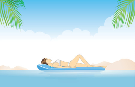 chill out: Women relaxing in the sea with resting on inflatable mattress Illustration