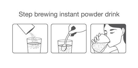デザイン パッケージおよびその他のインスタント粉末飲み物を醸造するガイド ステップ