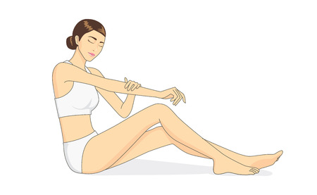 Full body of beautiful woman applying moisturizer cream on arm skin. Skin care concept Stock Illustratie