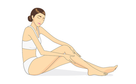 Full body of beautiful woman applying moisturizer cream on leg skin. Skin care concept Иллюстрация