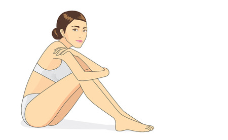 woman naked body: Full body woman sitting on the white floor in cartoon style Illustration