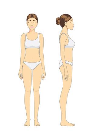 Full body vrouw model in wit ondergoed staan voor- en zijkant op geïsoleerde Stock Illustratie