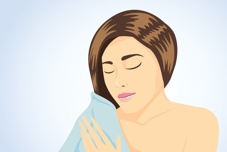 wipe: Long hair women wipe wet hair to dry with blue towel on blue background Illustration