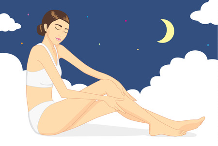 lotion: Woman sitting on cloud and use hand caresses the body for nurture skin at night time. Skin care concept