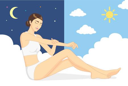 dia y noche: Mujer sentada en la nube y el uso de mano acaricia el cuerpo para la piel crianza en el día y la noche. Concepto de cuidado de la piel Vectores