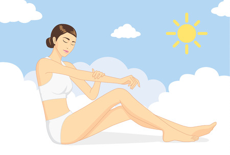 nurture: Woman sitting on cloud and use hand caresses the body for nurture skin at day time. Skin care concept Illustration