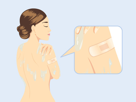 lesion: Woman stick waterproof bandage plaster protect lesion at shoulder while bath