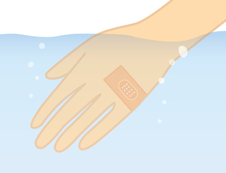 adhesive plaster: Hand in the water with stick waterproof bandage plaster protect lesion Illustration