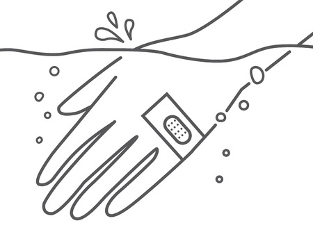 Hand in the water with stick waterproof bandage plaster protect lesion in outline Illustration