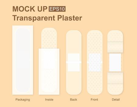 adhesive plaster: Transparency bandage plaster packaging mock up for template design artwork or other job Illustration