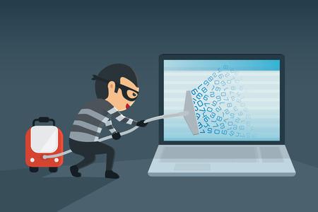 bandiet diefstal wachtwoord en de gegevens voor de computer met vacuüm. Het concept van het hacken van de computer Vector Illustratie