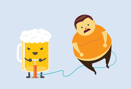 chubby cartoon: Beer make man with a mustache to fat fast with air pump Illustration