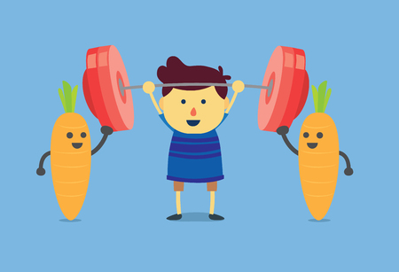 Little boy get power from carrot he can easily do weightlifting. This is a concept about eating vegetables for children  イラスト・ベクター素材